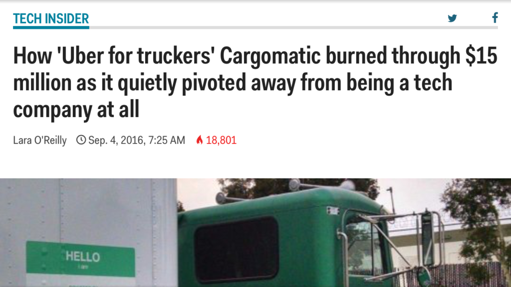 "Cargomatic is forced to pivot from its ""Uber for Truckers"" business model."